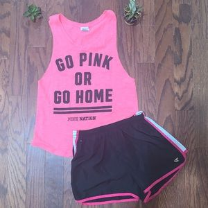 PINK pink nation muscle tank top dri gear shorts